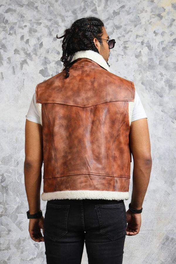 Vintage Biker Leather Vest Mens