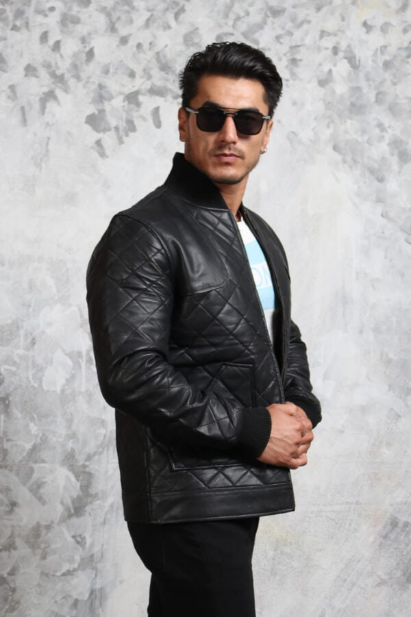 Bomber Leather Jacket Diamond Quilted