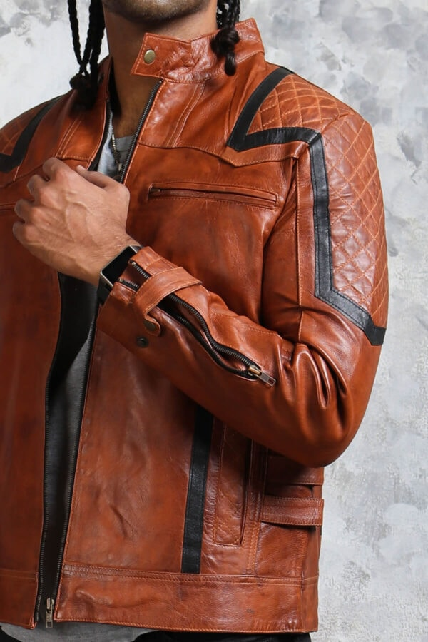 Brown Biker Leather Jacket Mens