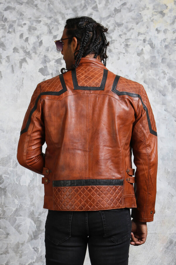 Brown Leather Biker Jacket Mens