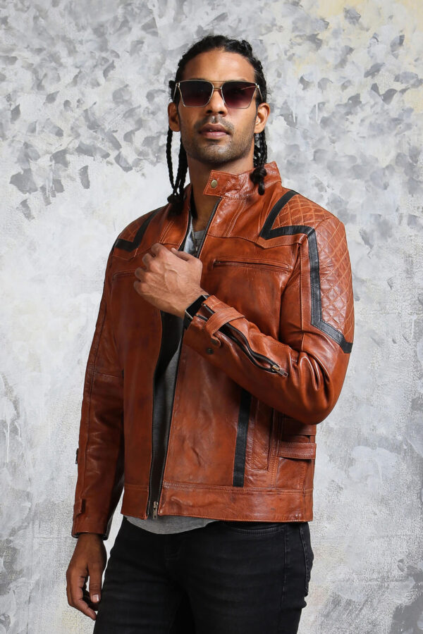 Brown Leather Moto Jacket Mens
