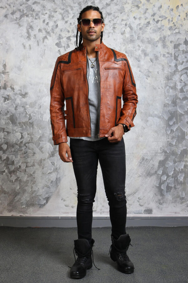 Mens Biker Brown Leather Jacket