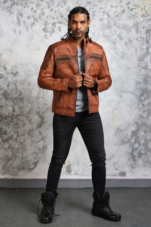 Mens Biker Perforated Leather Jacket