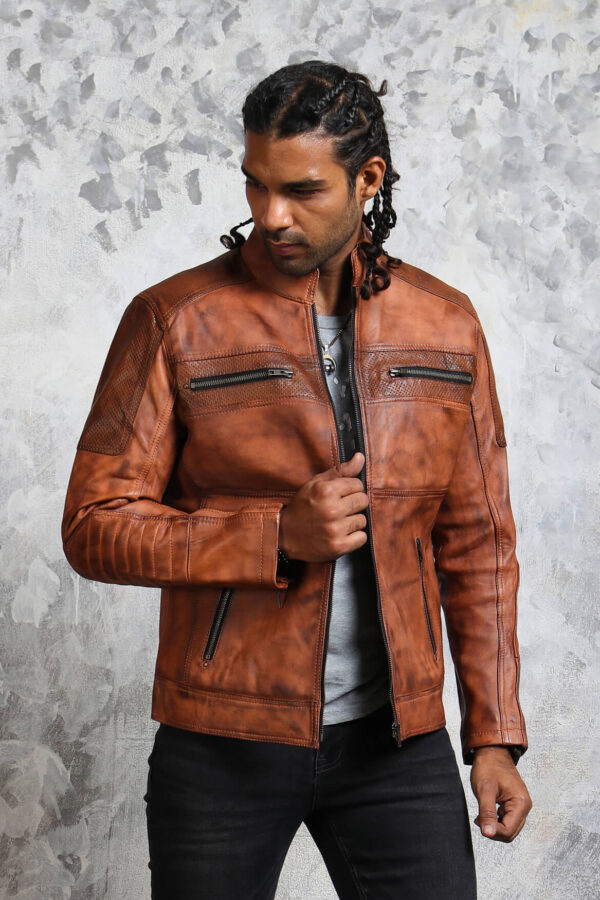 Mens Brown Perforated Leather Jacket