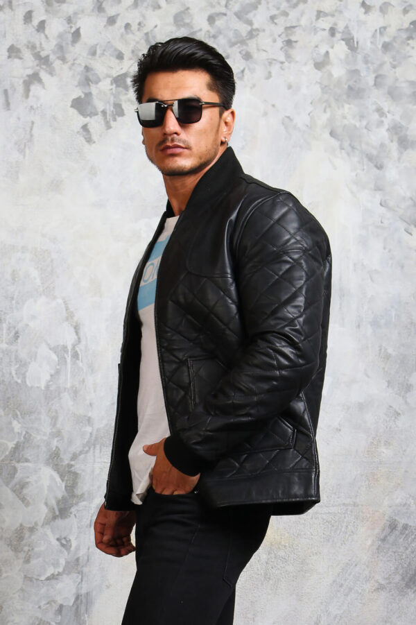 Mens Quilted Bomber Leather Jacket