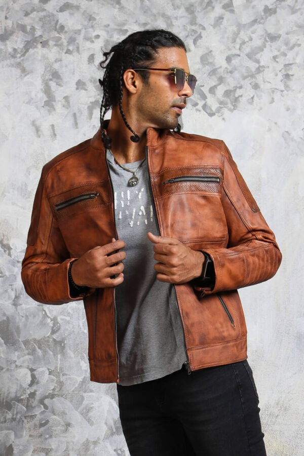 Perforated Leather Jacket Mens Biker
