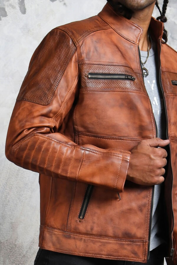 Perforated Leather Jacket Motorcycle Enthusiast
