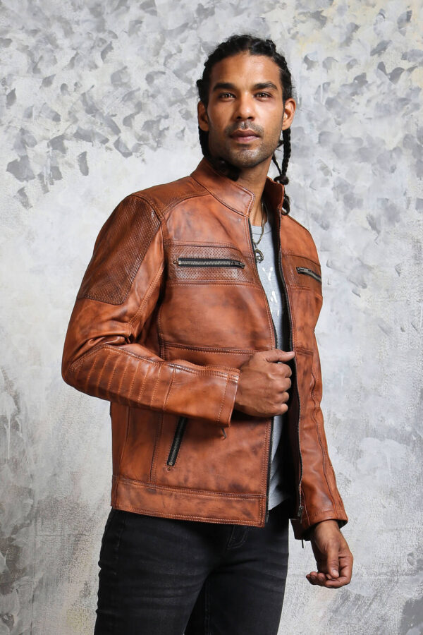 Perforated Leather Motorcycle Jacket-mens