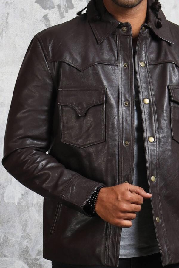 Trucker Leather Jacket 90s Men