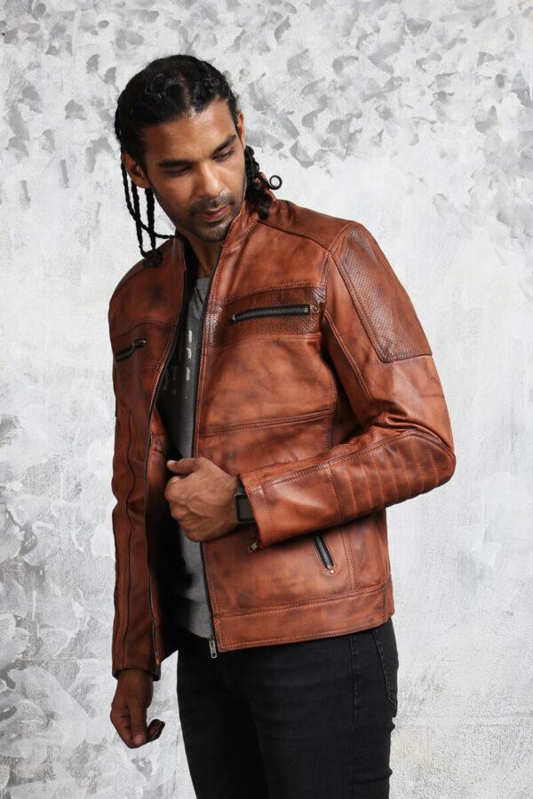 Vintage Perforated Leather Motorcycle Jacket