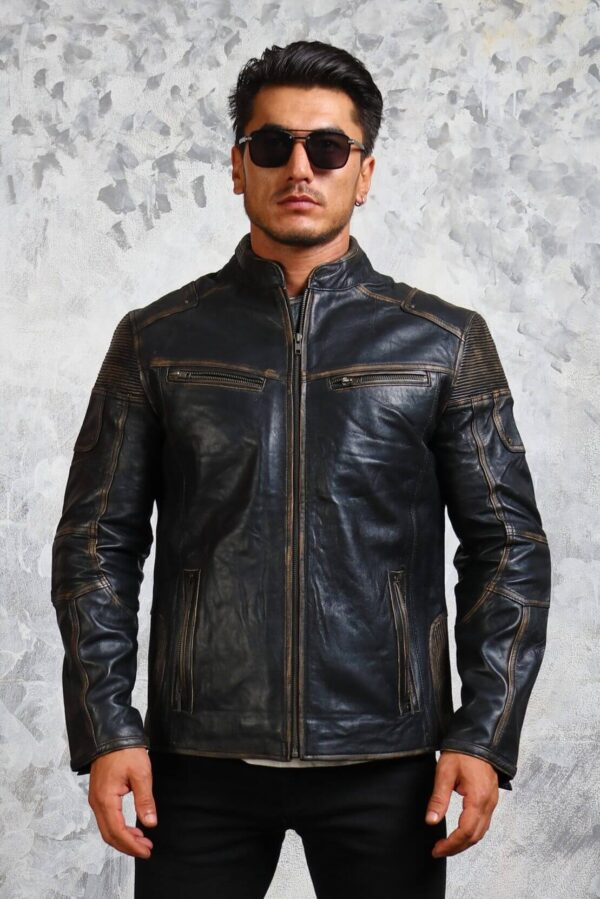 Distressed Mens Biker Leather Jacket