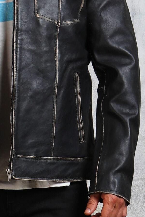 Black Vintage Leather Jacket Mens