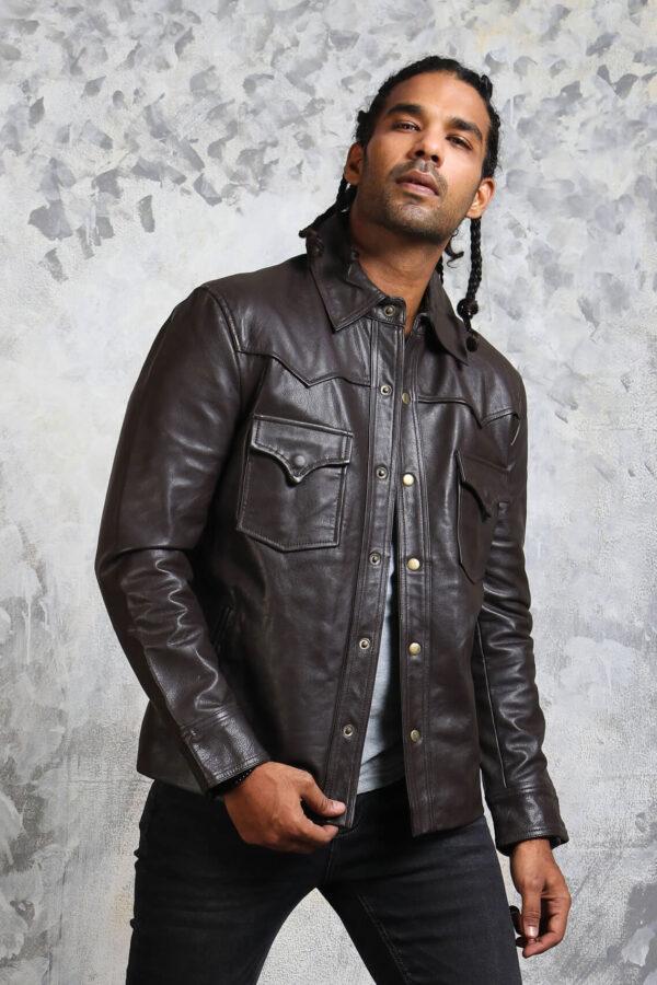 Leather Trucker Jacket Mens in Dark Brown