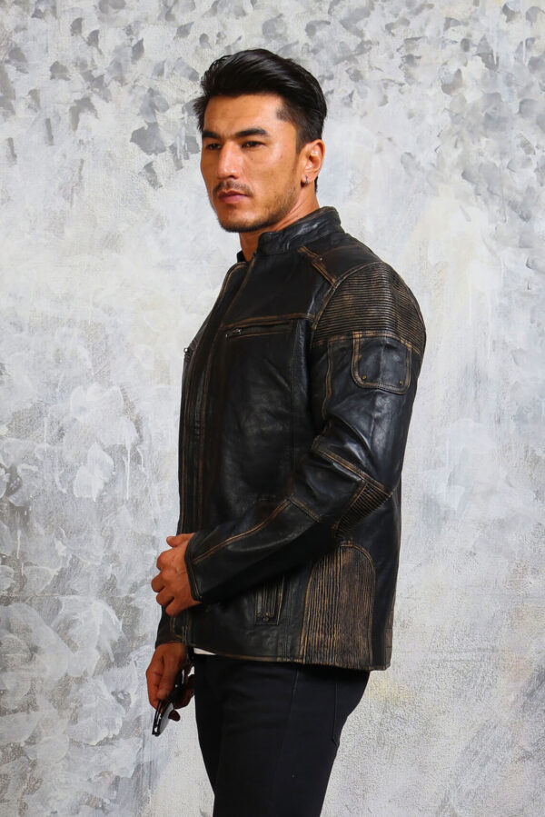 Mens Biker Black Leather Jacket