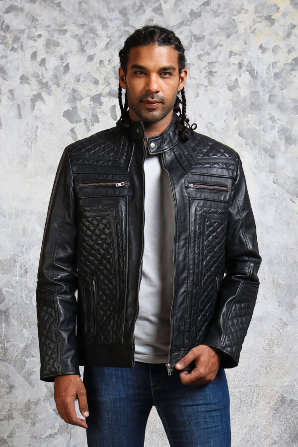 Mens Biker Diamond Quilted Jacket