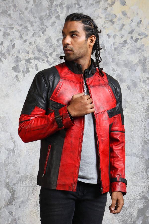 Mens Biker Red Leather Jacket