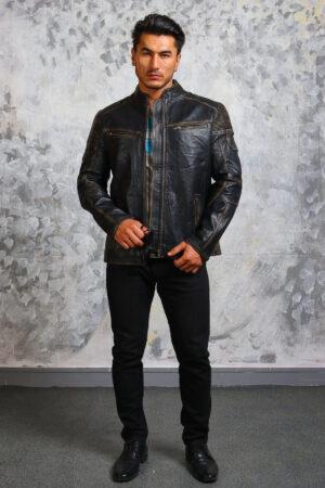Mens Biker Vintage Leather Jacket