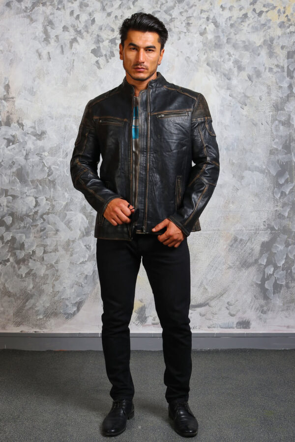 Mens Biker Vintage Leather Jacket