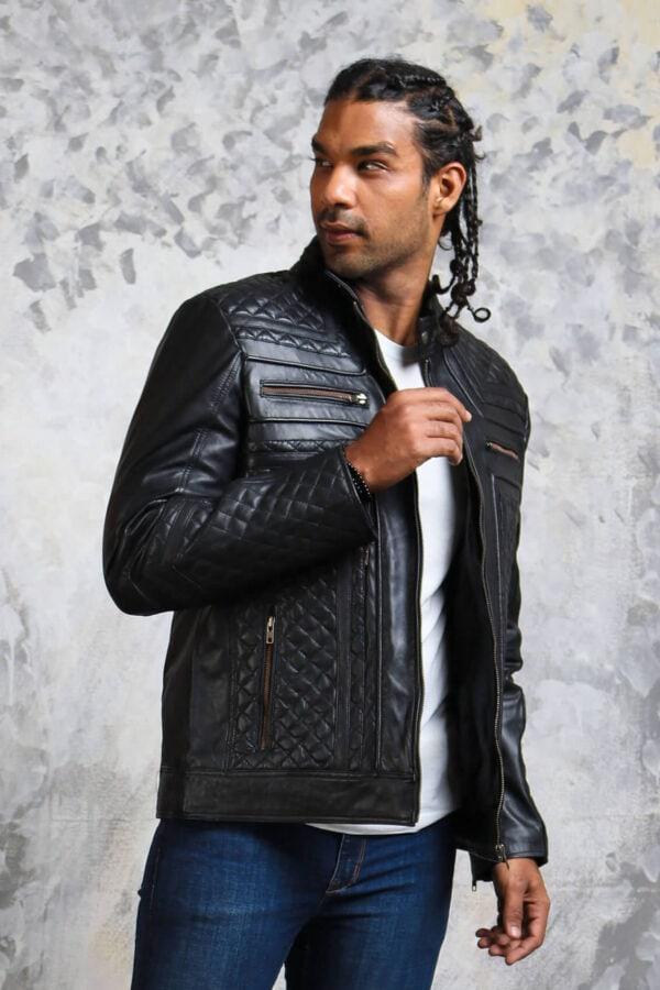 Mens Classic Leather Biker Jacket