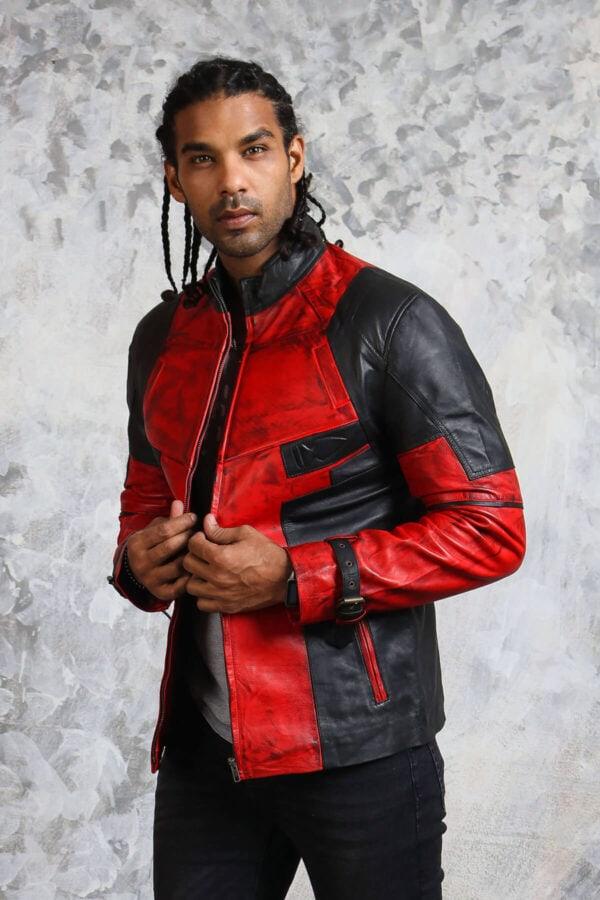 Mens Leather Red Biker Jacket