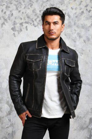 Vintage Mens Leather Trucker Jacket