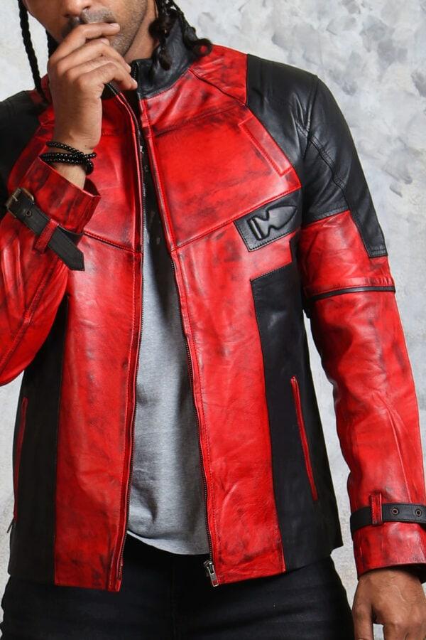 Red Black Biker Jacket Mens