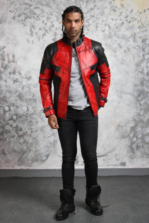 Red Leather Jacket Mens Biker