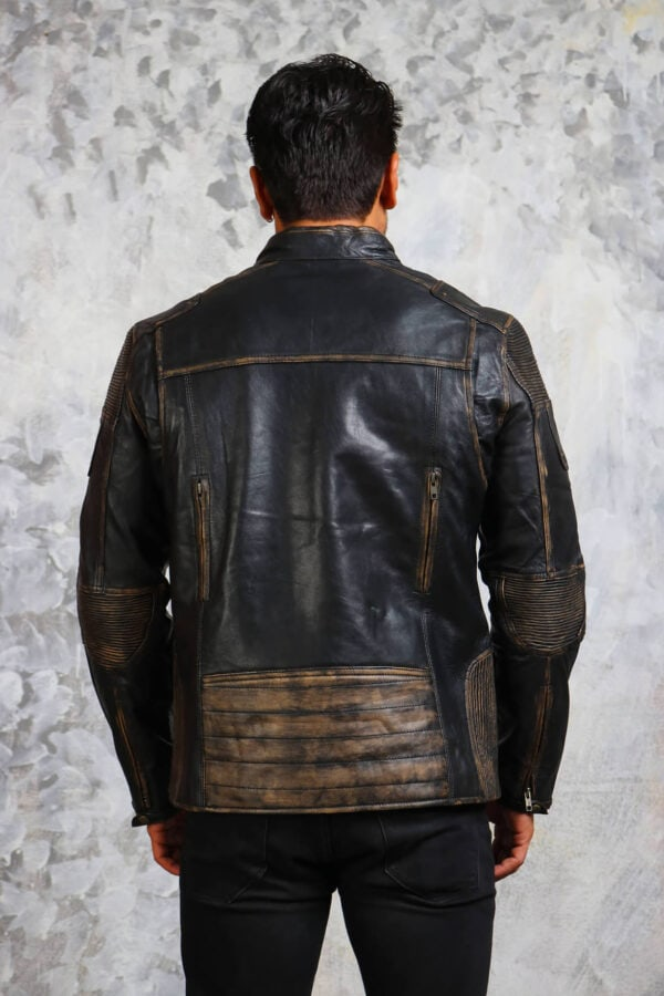 Vintage Biker Distressed Leather Jacket