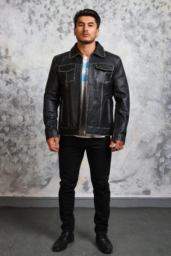 Vintage Black Leather Jacket Mens