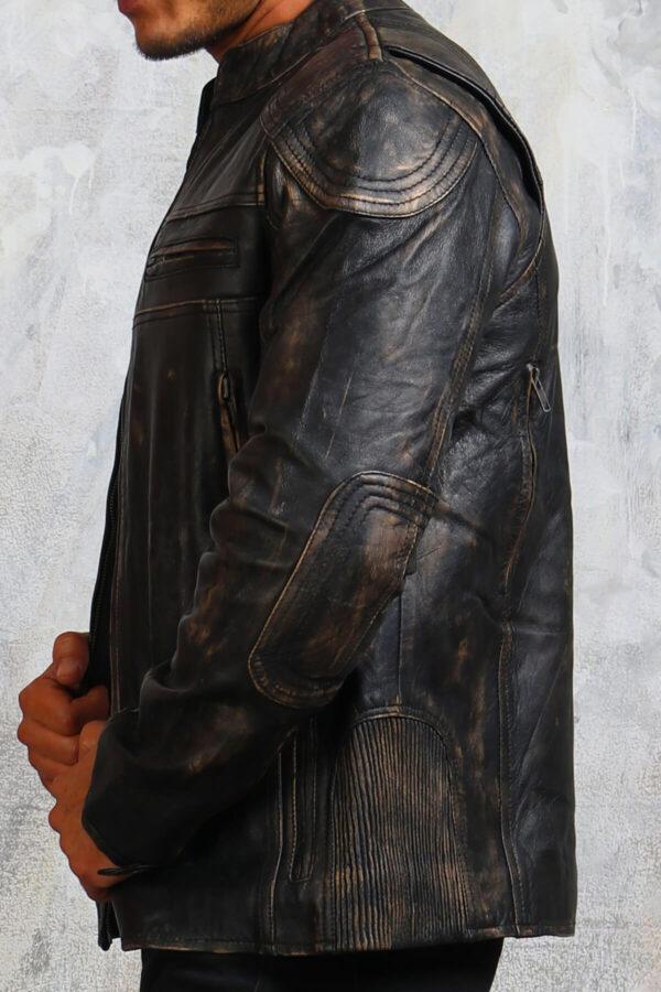 Black Distressed Biker Leather Jacket