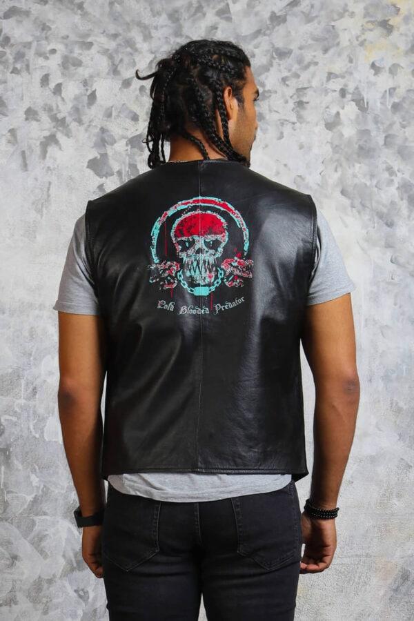 Skull Motorcycle Black Leather Vest