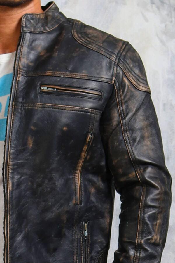 Vintage Leather Biker Jacket Mens