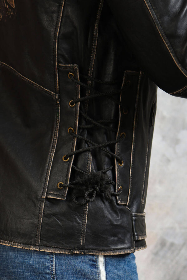 Adjustable Waist Black Leather Jacket