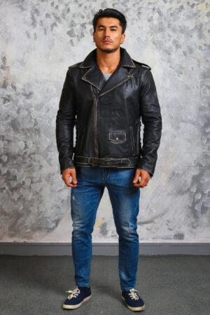 Black Leather Motorcycle Jacket Mens