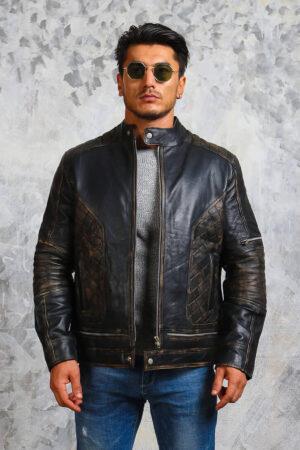 Black Leather Skull Motorcycle Jacket