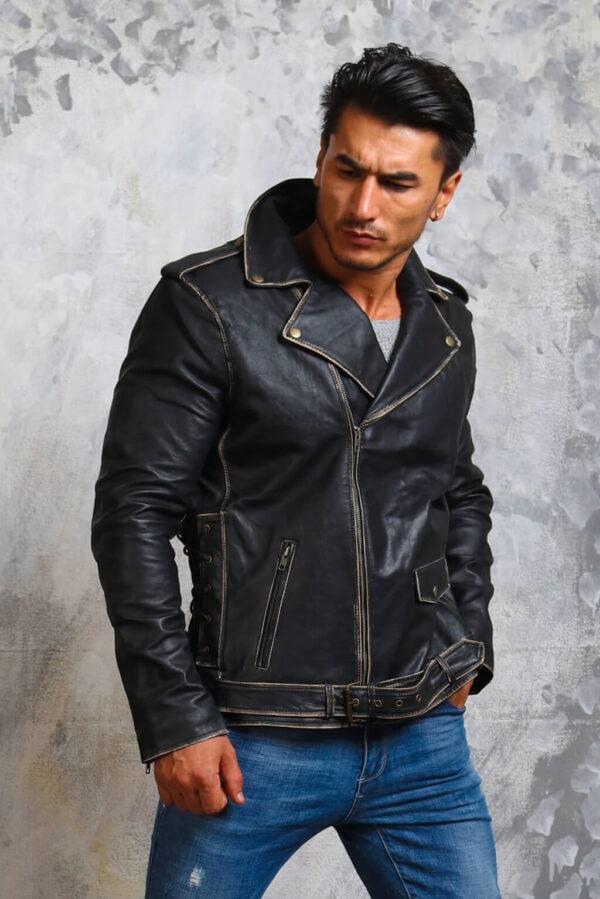 Black Motorcycle Leather Jacket Mens
