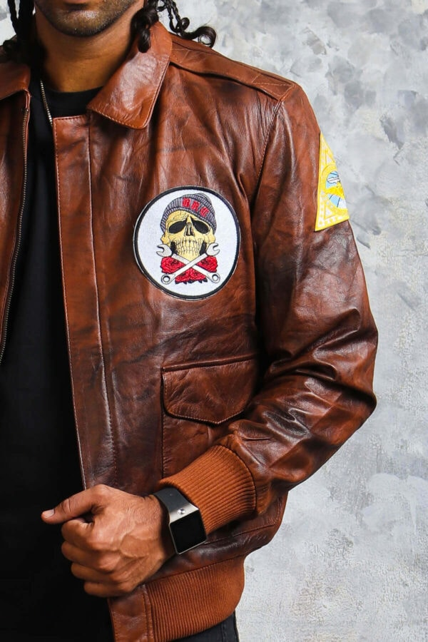 Brown Bomber Leather Jacket with Collar
