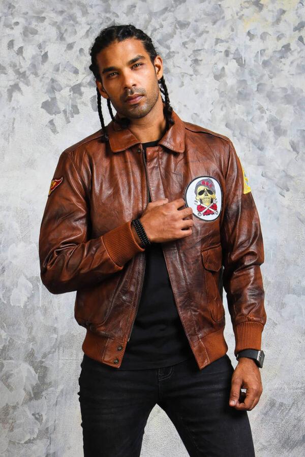 Brown Leather Bomber Jacket Mens