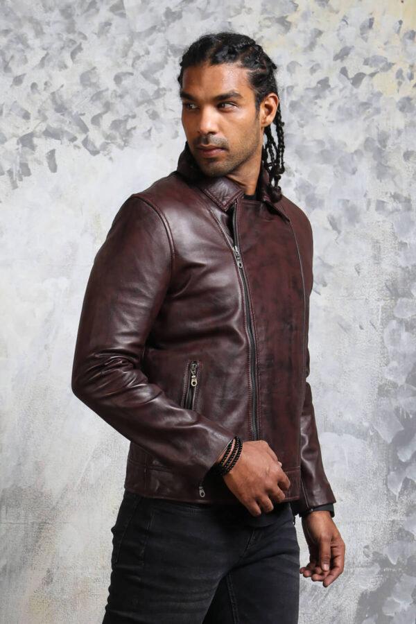 Mens Biker Dark brown Leather Jacket