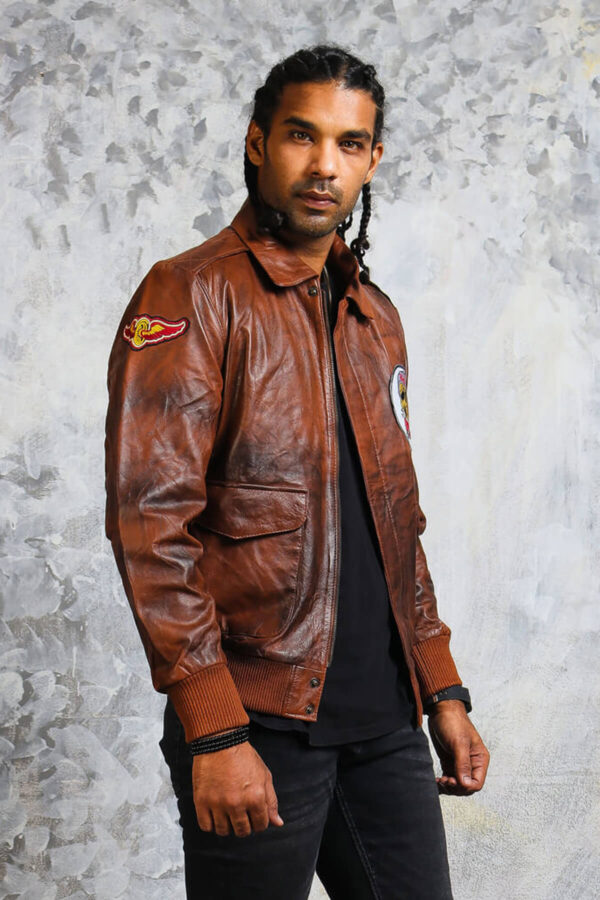 Brown Leather Mens Bomber Jacket