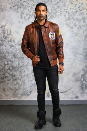 Mens Bomber Leather Jacket in Brown