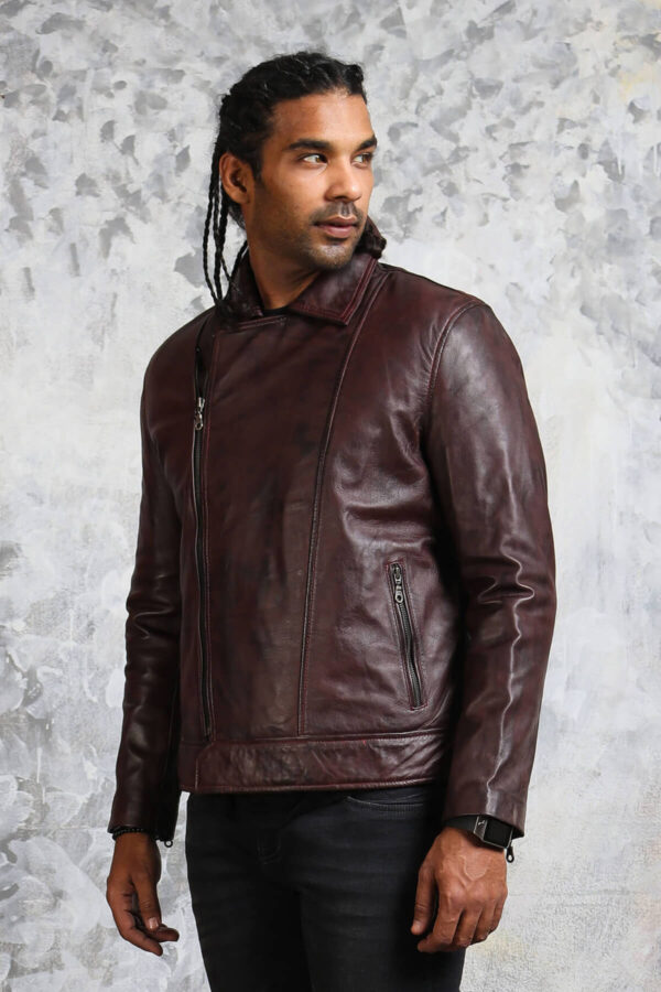 Mens Brown Leather Jacket with Collar