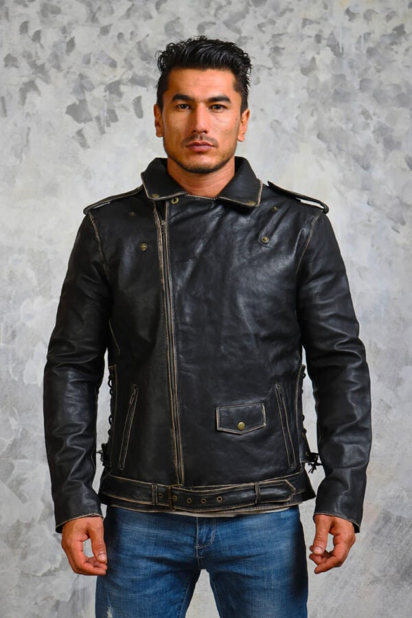 Mens Distressed Motorcycle Leather Jacket