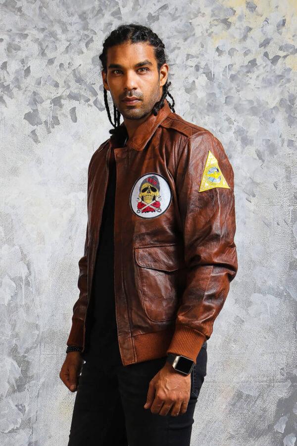 Mens Genuine Leather Bomber Jacket