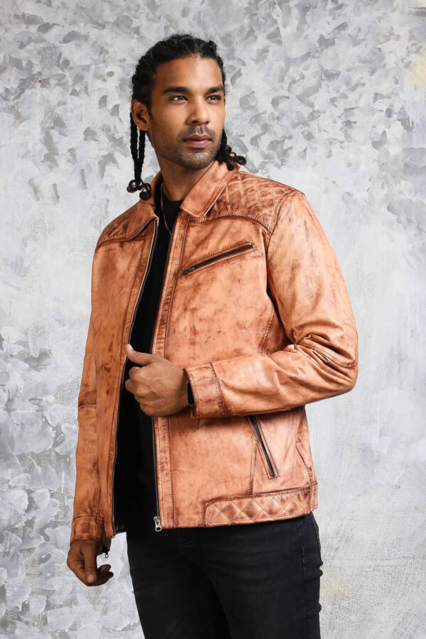 Tan Leather Jacket with Collar
