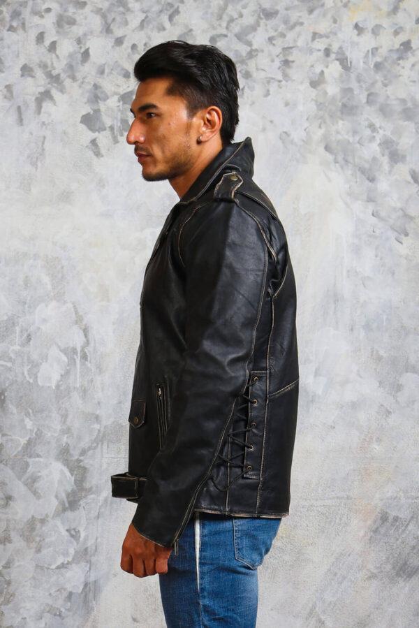 Motorcycle Black Leather Jacket Mens