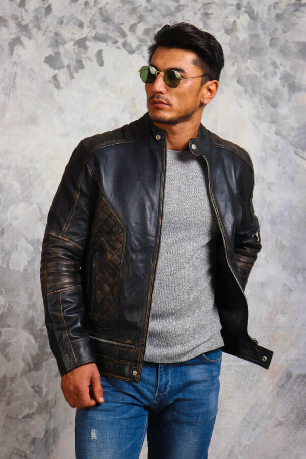 Motorcycle Leather Jacket Skull and Crossbones