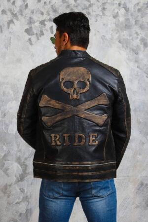 Skull Leather Jacket Mens Biker