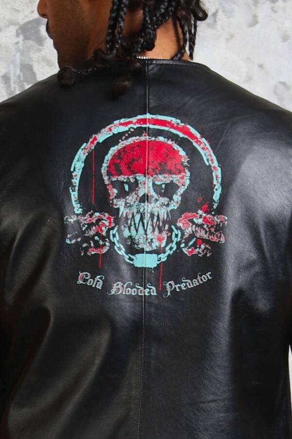 Skull Leather Vest Mens