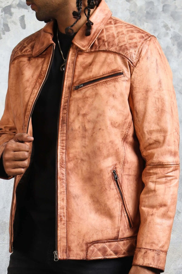 Tan Biker Leather Jacket with Collar